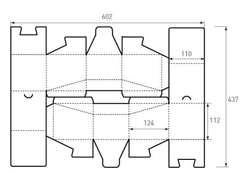 Штамп для коробки 1К 110x124x112. Привью 500x375 пикселов