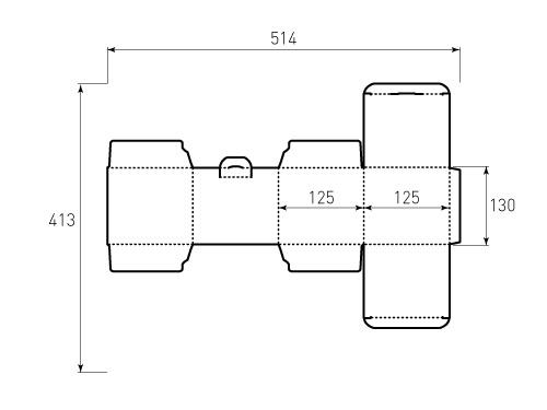 Штамп для коробки 1К 125x125x130. Привью 500x375 пикселов