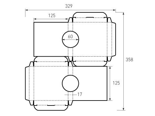Штамп для коробки 1К 125x125x17 акустическая. Привью 500x375 пикселов