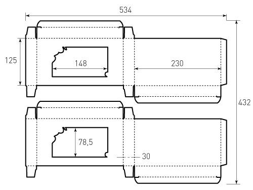 Штамп для коробки 1К 125x230x30 СПА. Привью 500x375 пикселов