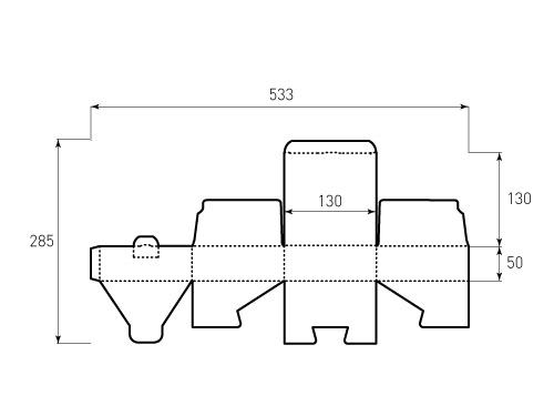 Штамп для коробки 1К 130x130x50. Привью 500x375 пикселов