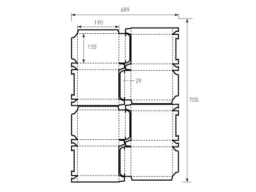 Штамп для коробки 1К 135x190x29 4 штуки. Привью 500x375 пикселов