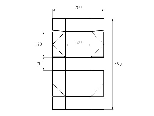 Штамп для коробки 1К 140x140x70. Привью 500x375 пикселов