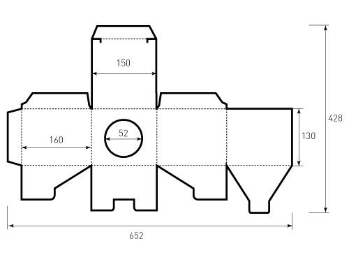 Штамп для коробки 1К 150x160x130. Привью 500x375 пикселов