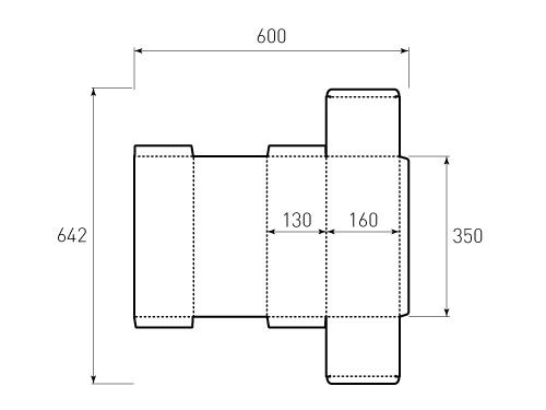 Штамп для коробки 1К 160x130x350. Привью 500x375 пикселов