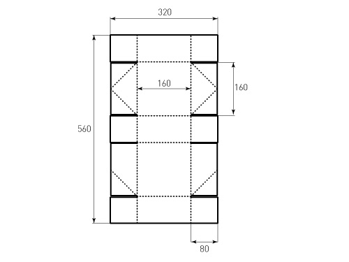 Штамп для коробки B1К 160x160x80. Привью 500x375 пикселов