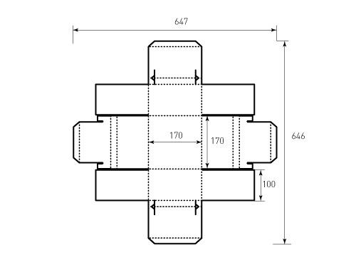 Штамп для коробки 1К 170x170x100 Торт суммa. Привью 500x375 пикселов