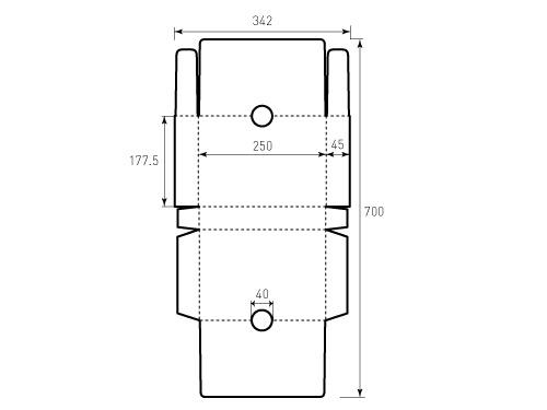 Штамп для коробки 1К 177,5x250x45 диаметр 40. Привью 500x375 пикселов