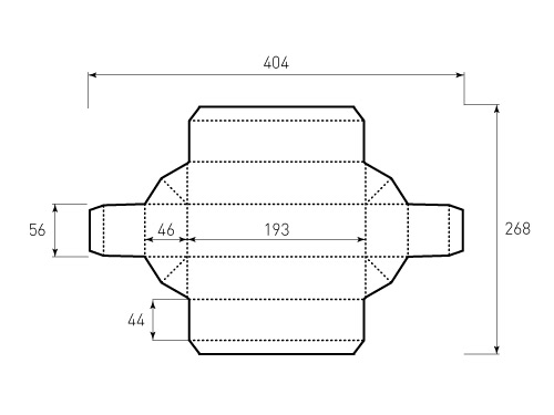 Штамп для коробки 1К 192x46x52. Привью 500x375 пикселов