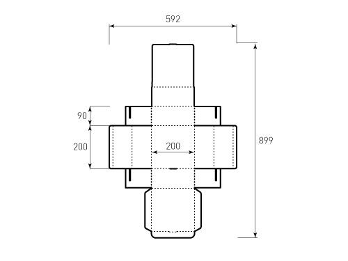 Штамп для коробки 1к 200x200x90. Привью 500x375 пикселов