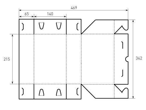 Штамп для коробки 1К 215x140x65 Боучон. Привью 500x375 пикселов