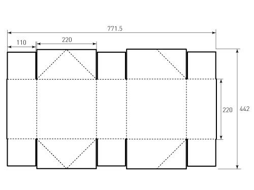Штамп для коробки 1К 220x220x110. Привью 500x375 пикселов