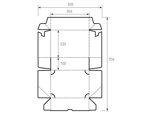 Штамп для коробки 1К 220x304x100 А4. Привью 500x375 пикселов