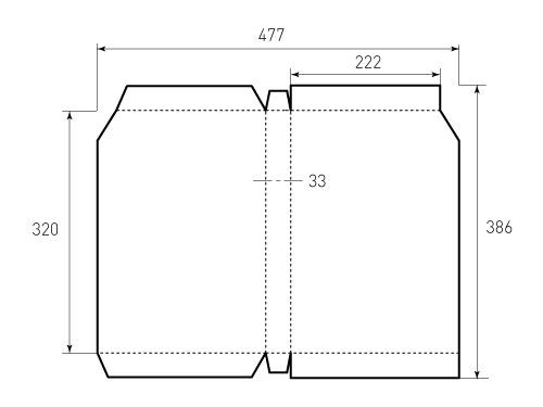 Штамп для коробки 1К 222x320x33. Привью 500x375 пикселов