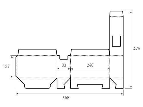 Штамп для коробки 1К 240x137x83. Привью 500x375 пикселов