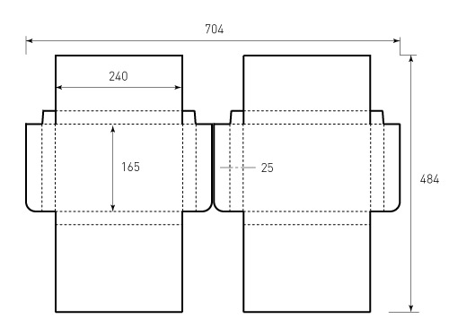 Штамп для коробки 1К 240x165x25 2 штуки. Привью 500x375 пикселов