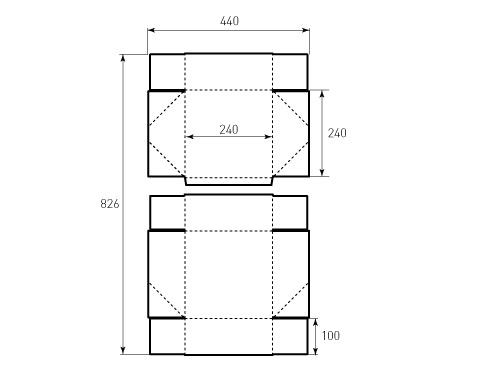 Штамп для коробки 1К 240x240x100. Привью 500x375 пикселов