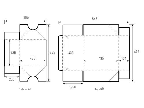 Штамп для коробки 1к 435x435x250. Привью 500x375 пикселов