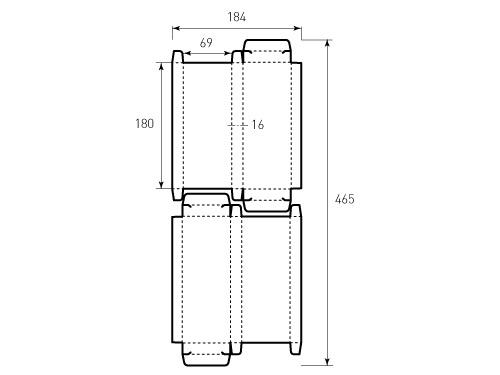 Штамп для коробки 1К 69x180x16 для ручек или карандашей. Привью 500x375 пикселов