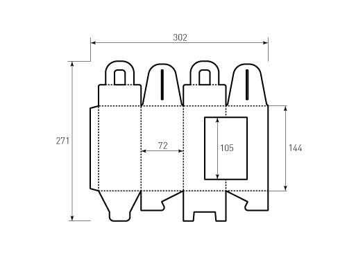 Штамп для коробки 1К 72x72x144 для конфет. Привью 500x375 пикселов