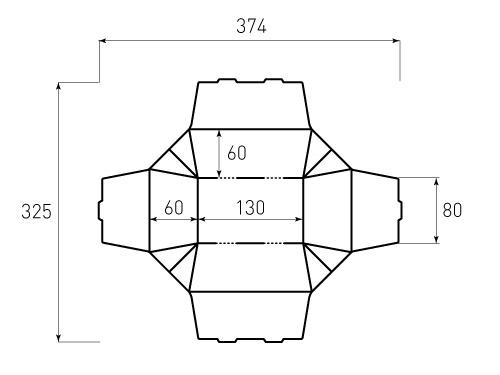 Штамп для коробки 1К 80x130x60. Привью 500x375 пикселов