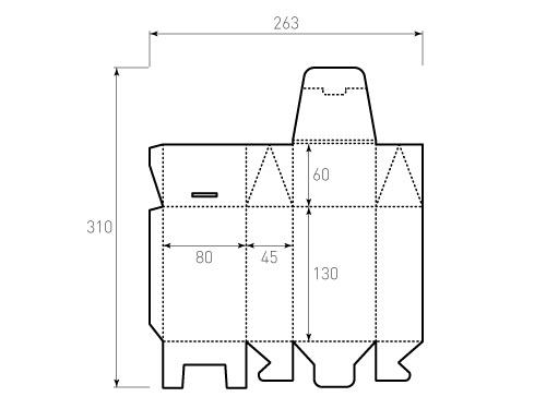 Штамп для коробки Box 1К 80x45x190 чайный. Привью 500x375 пикселов