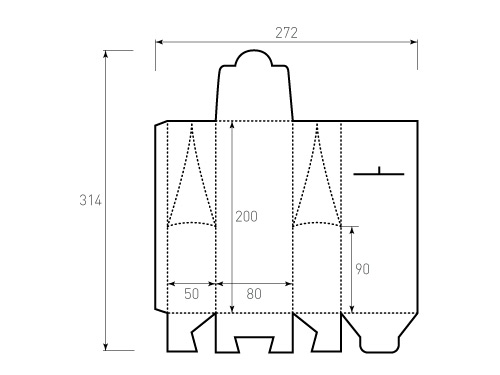 Штамп для коробки 1К 80x50x200 чайный. Привью 500x375 пикселов