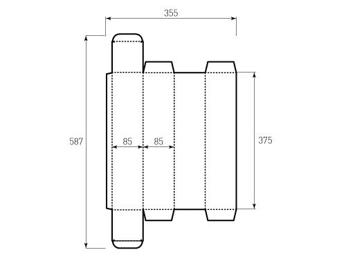 Штамп для коробки 1К 85x85x375. Привью 500x375 пикселов