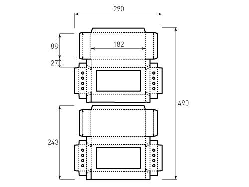 Штамп для коробки 1К 88x180x27 для карандашей. Привью 500x375 пикселов