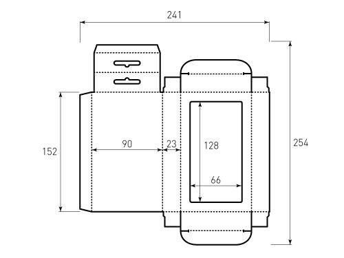 Штамп для коробки 1к 90x152x23 большое окно, на 66x128. Привью 500x375 пикселов