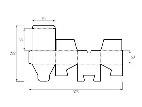Штамп для коробки 1к 93x88x53. Привью 500x375 пикселов