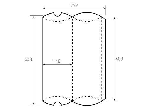 Штамп для коробки 1К Пирожок 140x400. Привью 500x375 пикселов