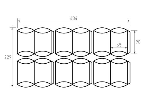 Штамп для коробки 1К Пирожок 65x90, 6 штук на штампе. Привью 500x375 пикселов