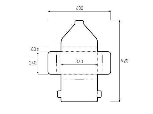 Штамп для коробки Box 2К 360х240х80 джак. Привью 500x375 пикселов