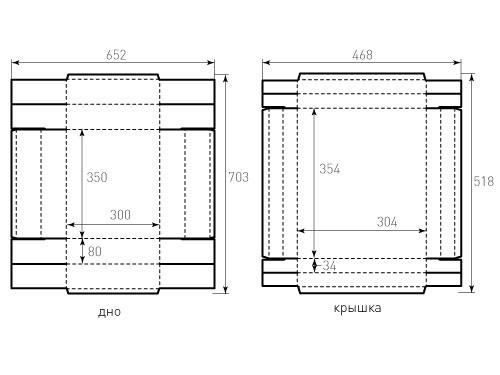 Штамп для коробки Квадратной 350x300x80. Привью 500x375 пикселов