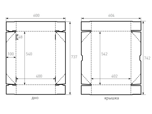 Штамп для коробки Квадратной 540x400x101. Привью 500x375 пикселов