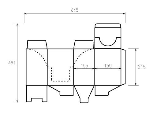 Штамп для коробки МГК 155x155x215. Привью 500x375 пикселов