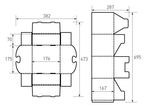 Штамп для коробки МГК 170x170x170. Привью 500x375 пикселов