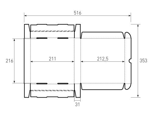 Штамп для коробки МГК 210x215x30. Привью 500x375 пикселов