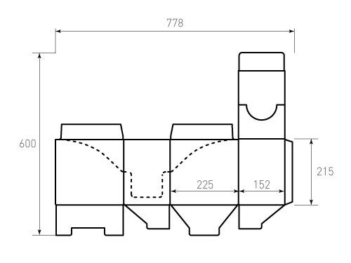 Штамп для коробки МГК 225x152x215. Привью 500x375 пикселов