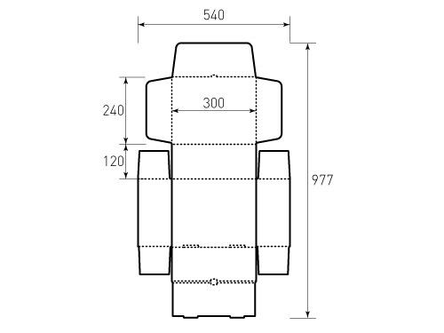 Штамп для коробки МГК 300x240x120 цельнокроенная. Привью 500x375 пикселов