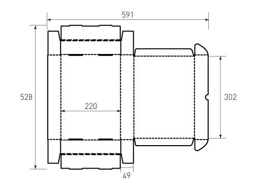 Штамп для коробки МГК 302x220x49. Привью 500x375 пикселов