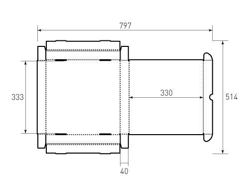 Штамп для коробки МГК 330x330x40. Привью 500x375 пикселов