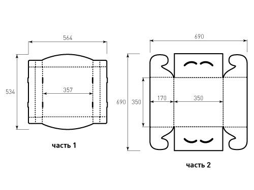 Штамп для коробки МГК 350x350x170 Торт. Привью 500x375 пикселов