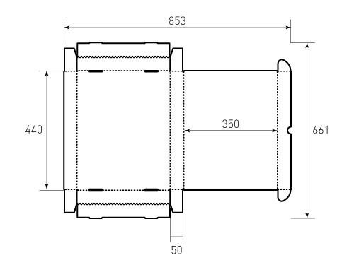 Штамп для коробки МГК 440x350x50. Привью 500x375 пикселов