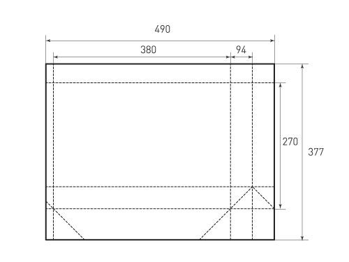 Горизонтальный бумажный пакет G380-270-94 500x375 px
