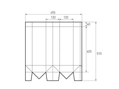 Вертикальный бумажный пакет под бутылку V120-400-120. 500x375 px