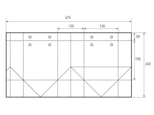 Вертикальный бумажный пакет V130-150-100. 500x375 px