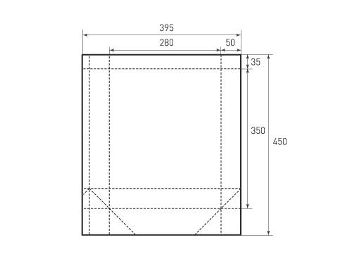 Вертикальный бумажный пакет V280-350-100. 500x375 px