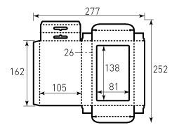 Коробка из однослойного картона 105x162x26, с большим окном 81x138